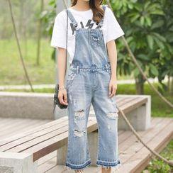 Lanka - 做旧背带牛仔裤