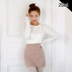 SUVINSHOP - Set: Pom-pom Detail Knit Top + Check Miniskirt