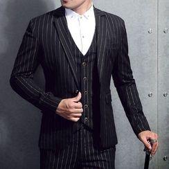 JORZ - 套装: 细直条纹西装外套 + 马甲 + 裤