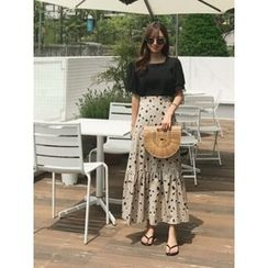 hellopeco - Dot Pattern Tiered Maxi Skirt