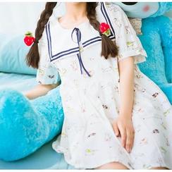 Moricode - Cat Print Short-Sleeve Dress