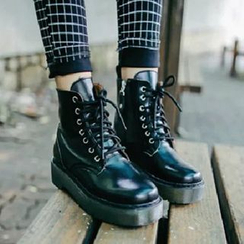 SouthBay Shoes - Lace-Up Platform Short Boots