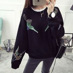 Qimi - Embroidered Oversized Sweatshirt