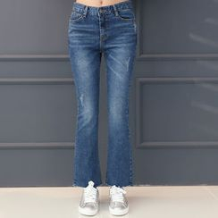 DANI LOVE - Washed Semi Boot-Cut Jeans