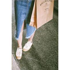 CHERRYKOKO - Cutout-Hem Denim Midi Pencil Skirt
