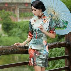Miss Four Qipao - 3/4-Sleeve Print Cheongsam