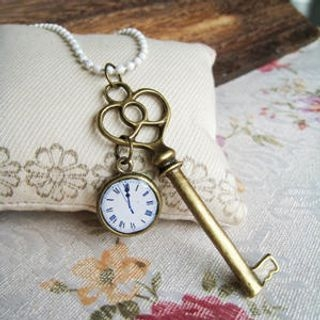 MyLittleThing - Key & Clock Necklace(White)