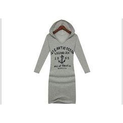 GRACI - Printed Hooded Long-Sleeve Dress