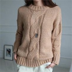 CHICFOX - Drop-Shoulder Cable-Knit Sweater