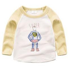 DEARIE - 兒童長袖印花插肩袖T恤