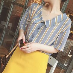 Moon City - Short-Sleeve Striped Blouse