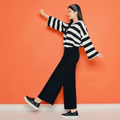 HOTPING - Set: Striped Loose-Fit Top + Band-Waist Pants