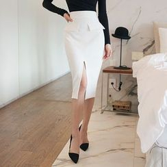 DABAGIRL - Flap-Pocket Midi Pencil Skirt