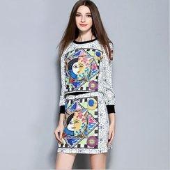 巧妮儿 - 套装: 七分袖图案上衣 + A字裙