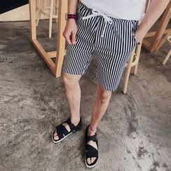 Fisen - Drawstring Striped Shorts