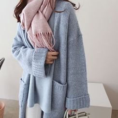 DAILY LOOK - Open-Front Wool Blend Long Cardigan
