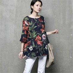 HALUMAYBE - Elbow-Sleeve Floral Pattern Top