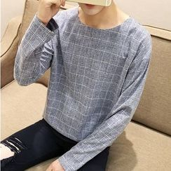 Bay Go Mall - Long-Sleeve Plaid T-Shirt