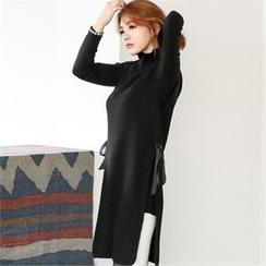 GLAM12 - Turtle-Nekc Long Knit Vest