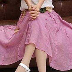 Sunny House - Ruffled A-Line Midi Skirt
