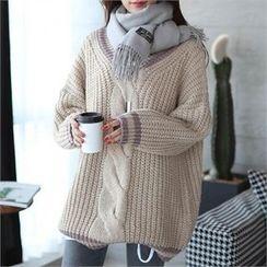CHICFOX - V-Neck Chunky-Knit Sweater