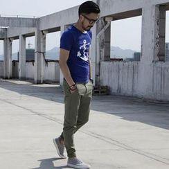 YIDESIMPLE - Short-Sleeve Anchor Print T-Shirt