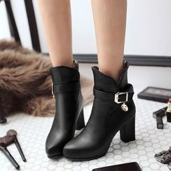 Pretty in Boots - High Heel Buckled Ankle Boots