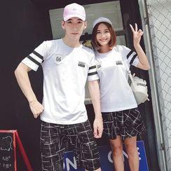 Bonne Nuit - Couple Matching Short-Sleeve Applique T-Shirt / Shorts / Skirt