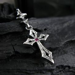 Sterlingworth - Hand Made Cross Ruby Single Earring