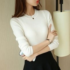 Cotton Candy - 纯色罗纹针织长袖上衣