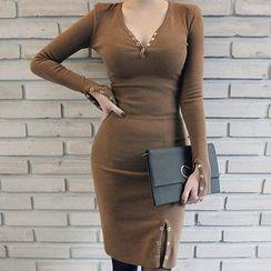 Seoul Fashion - Buttoned-Detail Midi Bodycon Dress