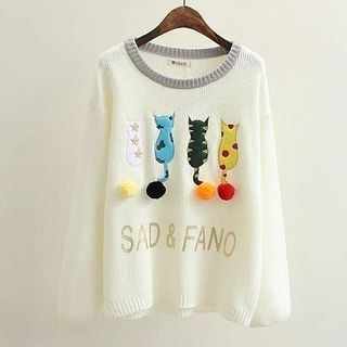 Suzette - Cat Embroidered Pompom Sweater