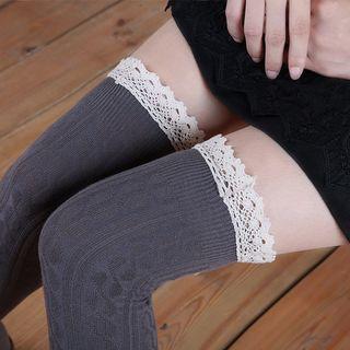 Abarana - Lace Trim Thigh High Socks