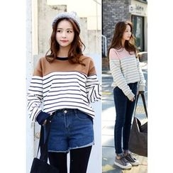 DEEPNY - Striped Brushed-Fleece Lined Sweatshirt