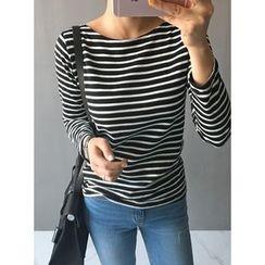 STYLEBYYAM - Round-Neck Stripe T-Shirt