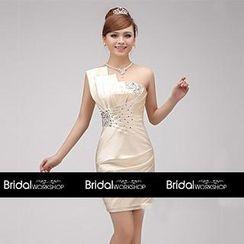 Bridal Workshop - One-Shoulder Jeweled Sheath Party Dress