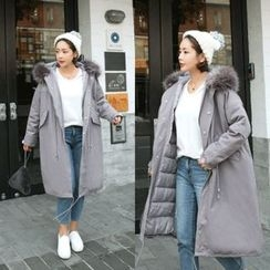 STYLEBYYAM - Faux-Fur Trim-Hooded Long Padded-Lined Coat