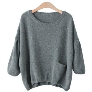 PEPER - Round-Neck Puff-Sleeve Cropped Knit Top