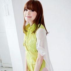 Tokyo Fashion - Tab-Sleeve Chiffon-Panel Shirt