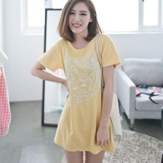 LULUS - Short-Sleeve Tiger-Print T-Shirt Dress
