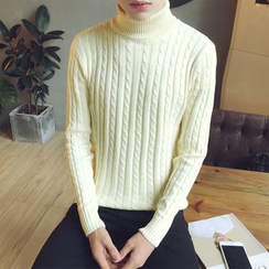 JORZ - Plain Turtleneck Cable Knit Sweater
