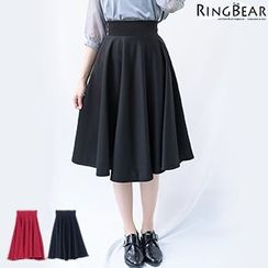 RingBear - 时尚俏丽名媛高腰半身裙隐形拉链中长款赫本伞裙蓬蓬裙