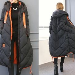 DANI LOVE - Hooded Contrast-Lining Long Padded Coat
