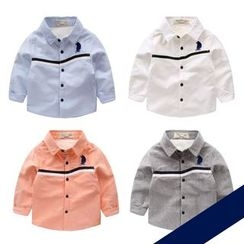 lalalove - Kids Embroidered Fleece-lined Long-Sleeve Shirt