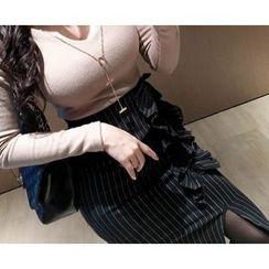 Marlangrouge - Pinstripe Frilled Midi Pencil Skirt
