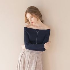 Tokyo Fashion - Off-Shoulder Rib Knit Top