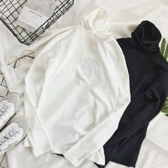 CaraMelody - Turtleneck Plain Long-Sleeve Top