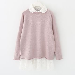 Meimei - Set : Lace Trim Blouse + Knit Top