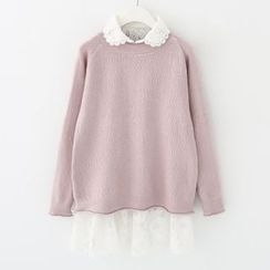 Meimei - Set : Lace Trim Blouse + Knit Top