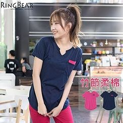 RingBear - 玩色风暴俏皮指标圆领开小V撞色双贴口袋上衣